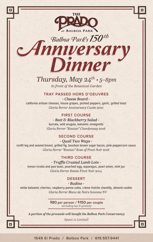150 yr anniversary dinner