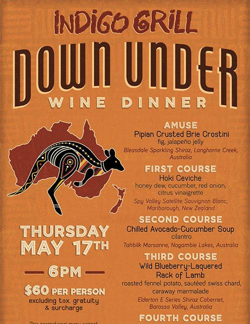 down under wine dinner